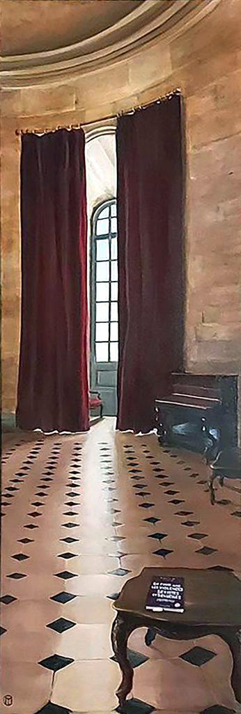 La Rotonde et Caroline de Haas, acrylique et huile sur toile, 120 x 40.